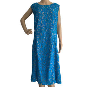 Anne Klein Blue Lace Beige Party Dress 22W